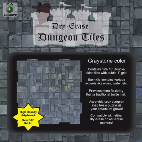 "Dry Erase Dungeon Tiles: Graystone 10"" Squares (9 Tiles)"
